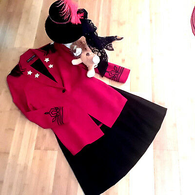 Ringmaster circus costume womens 6 8 red jacket top hat skirt Halloween](Ringmaster Jacket Women)