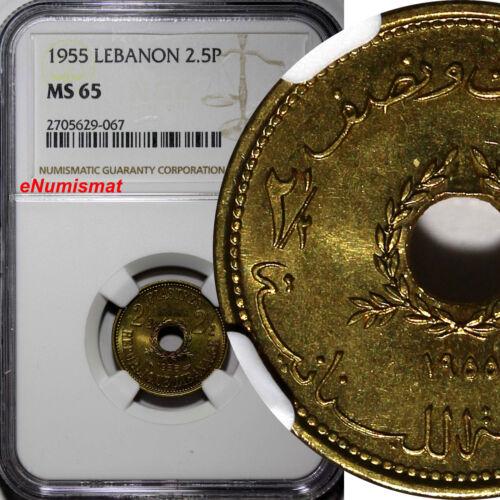 Lebanon Aluminium-Bronze 1955 2 1/2 Piastres NGC MS65 Monnaie de Paris KM# 20