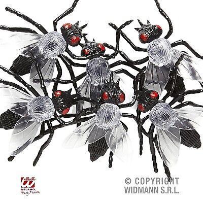 Fliege 6 Stück schwarz Fliegen für Halloween Fasching Party Deko 08162