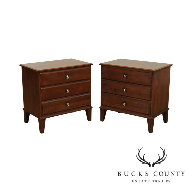 Ethan Allen Elements Collection Pair 3 Drawer Nightstands Chests