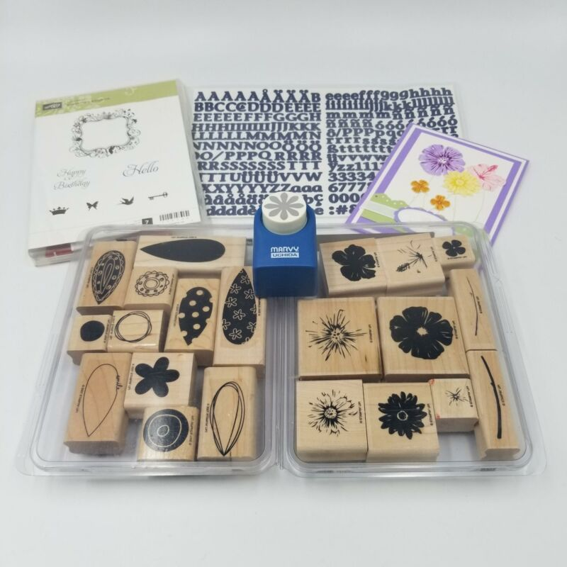 "Stampin Up Greenhouse Garden Marvel 1"" Daisy Punch Rubber Stamp ABC Lot 5"