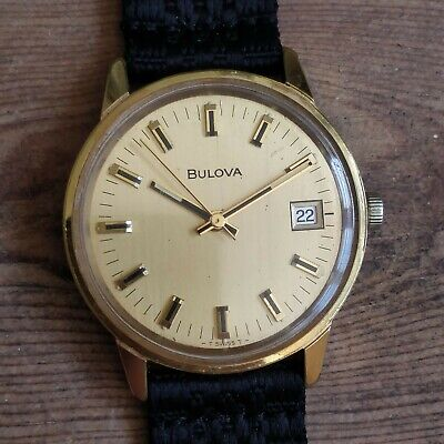 1973 Bulova Sea King GL 11AOCD Vintage Watch Gold Manual Wind Date 2 piece NATO