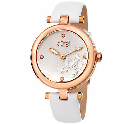 Women Burgi BUR197WTR Diamond Marker Flower White Gold Tone Leather Strap Watch