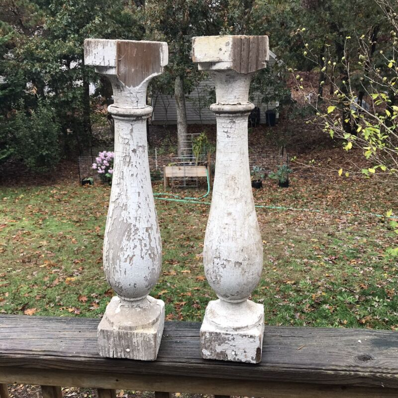 Antique Lot of 2 Chippy White Painted Wooden Balusters Architectural Salvage