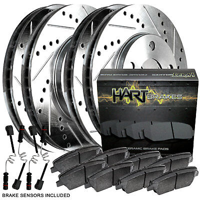 For 2012-2015 Mercedes-Benz ML350 Front Rear Drilled Brake Rotors+Ceramic Pads