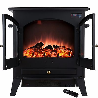 """25"""" 1500W Tempered Glass Freestanding Adjustable Electric Fireplace Stove Heater"""