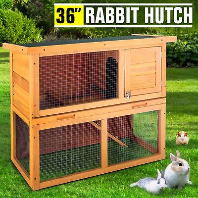 "36"" Wooden Rabbit Hutch Chicken Coop Waterproof Wood Hen House Poultry Pet Cage"