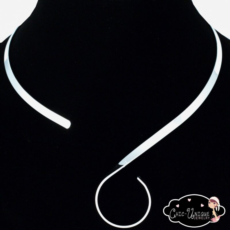 New Shiny Silver S Hook Swirl 5mm Choker Collar Necklace Wire (CS3)