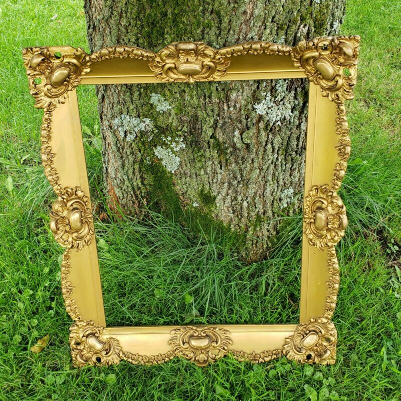 "Antique Gold Ornate Scrollwork Rose Swags Picture Painting Frame Fits 16""×20"""
