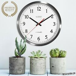 Large Metal Wall Clock Accurate Solid Stainless Steel Modern Quartz Analog Round