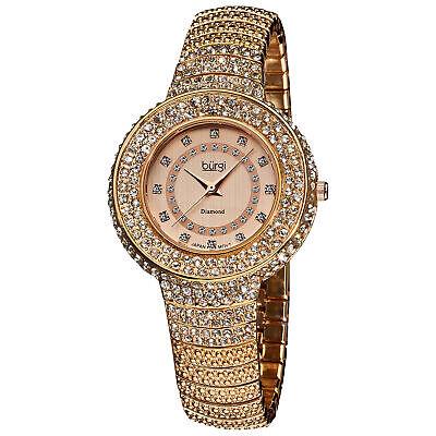 Women's Burgi BUR048RG Diamond Dial Crystal Accented Rose-tone Bracelet Watch