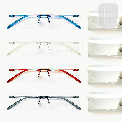 NEW MEMOFLEX RIMLESS READING GLASSES - GREY, RED, BLUE & CLEAR +1+1.50+2+2.5+3.0
