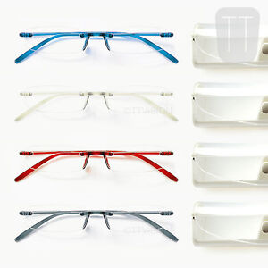NEW-MEMOFLEX-RIMLESS-READING-GLASSES-GREY-RED-BLUE-CLEAR-1-1-50-2-2-5-3-0