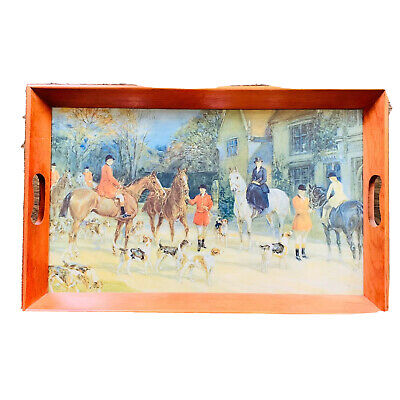 Vintage Wood Serving Tray Equestrian Theme Horses Country Life