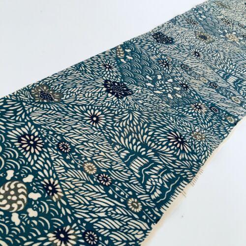 Teal Meadow #C 6.5x53 Vintage Silk Japanese Kimono Fabric Panel Authentic RJ11