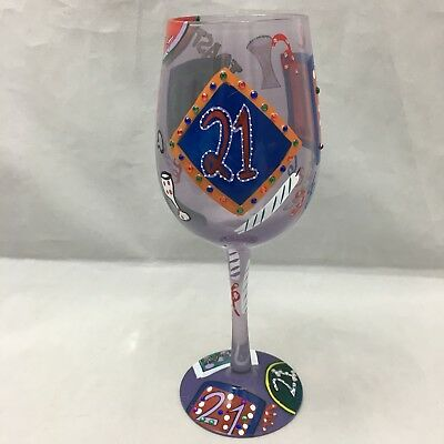 21 st Birthday Wine Glass Hand Painted Bling Party Lolita Drink Recipe Boxed