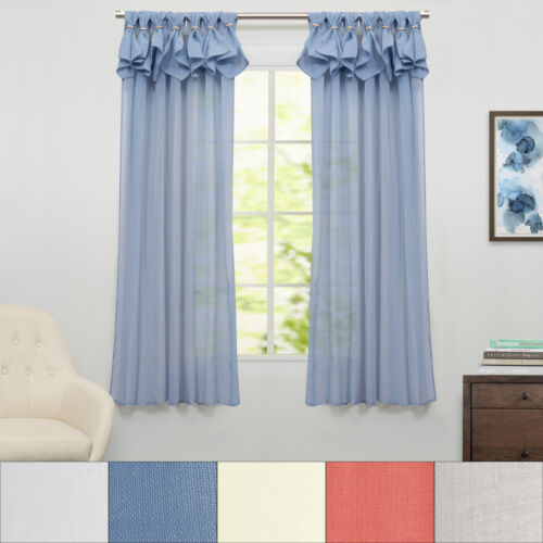 Breeze Semi Sheer Window Curtain Single Panel 63″x54″ Curtains & Drapes