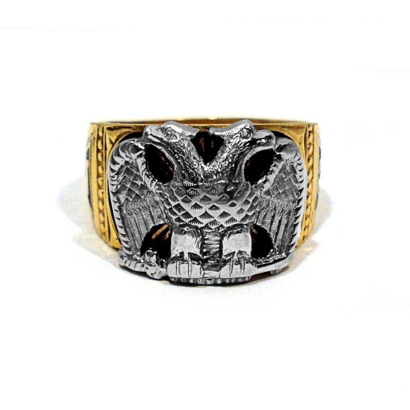 SOLID 14K YELLOW GOLD & WHITE GOLD ENAMEL DECORATED MASONIC RING ~ SIZE 11 1/4