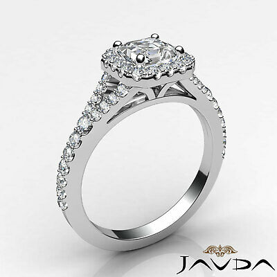 Split Shank Halo French Pave Set Asscher Diamond Engagement Ring GIA H VS2 1 Ct 1