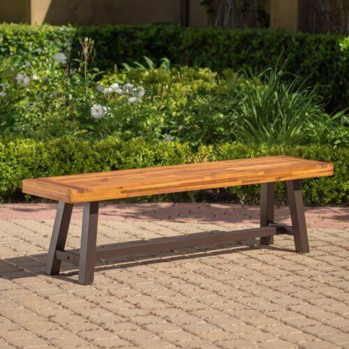 Bowman Outdoor Sandblack Finish Acacia Wood & Rustic Metal Bench Benches