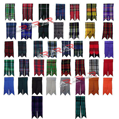 Royal Stewart Kilt - Kilt Flashes Scottish Royal Stewart Tartan Solid Plain Black Multi Color New AAR