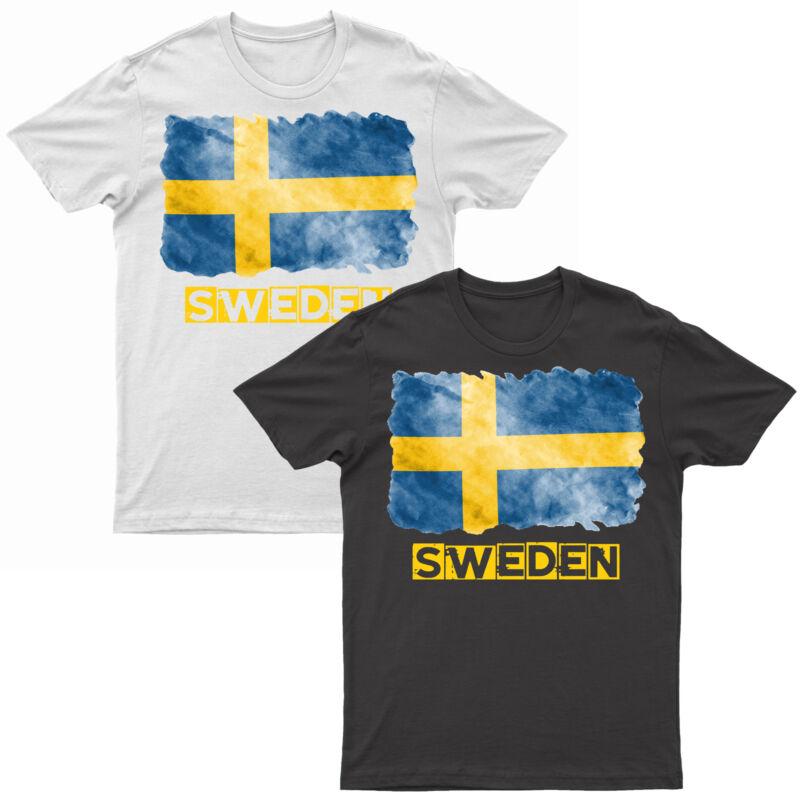 Adults Sweden T Shirt Printed Swedish Grunge Flag Short Sleeve Top