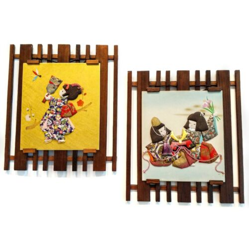 Set of (2) Vintage 1991 Handcrafted Japanese Oshie Pressed Picture Art Signed