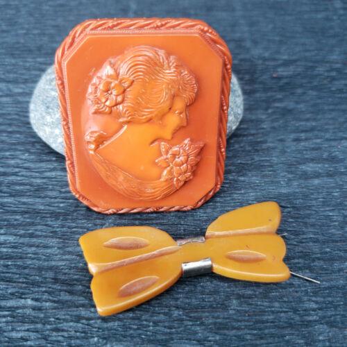 ATQ Early Plastic Bakelite Butterscotch Bow Barrette & Rust Orange Cameo Brooch