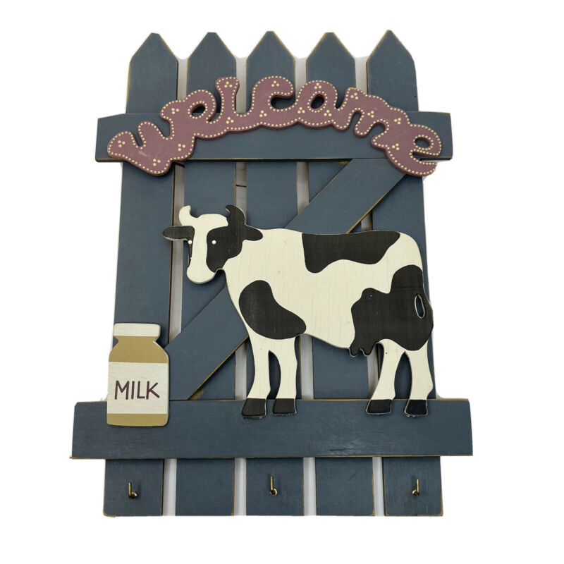 Picket Fence Cow Milk Can Farmhouse Wall Decor KEY KEEPER