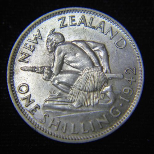 1942 New Zealand 1 Shilling Silver Coin - Key Date - XF