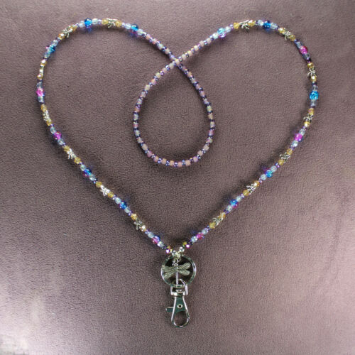 DRAGONFLY LANYARD NECKLACE ID Badge Holder Swivel Clip Key Ring Beads Silver