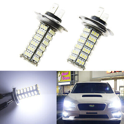 6000K White H7 120-SMD LED Headlight High Beam DRL Daytime Running Light Bulbs