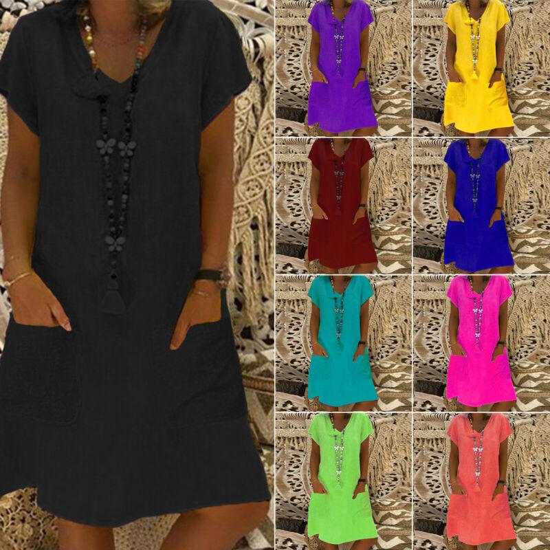 Gr.34-54 Damen Kurzarm Minikleid Tasche Shirtkleider Tunika Longshirt Longbluse