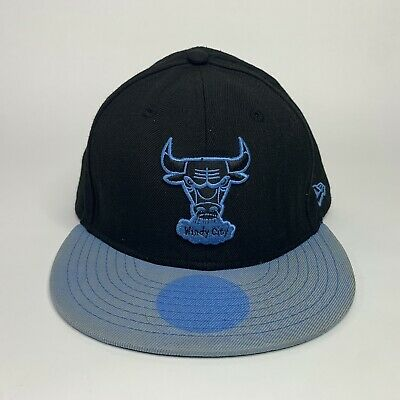 Chicago Bulls Windy City NBA New Era 59Fifty Mens Size 8 Black / Blue Fitted Hat