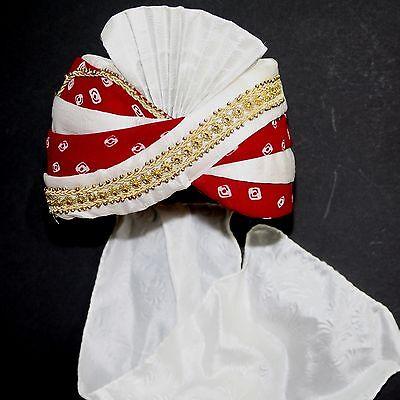 Turban Maharaja Rot-Weiß Indien Bollywood Kostüm Fasching Karneval Sultan  - Turban Kostüm