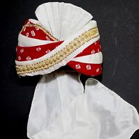 Maharaja-turban Rojo-blanco India Bollywood Traje Carnaval 4 -  - ebay.es