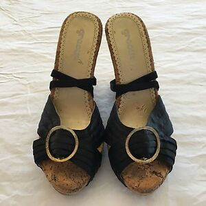 Black gold wooden wedges Size 6 Pacific Pines Gold Coast City Preview