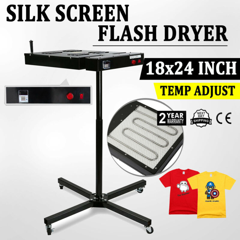"18""X24"" Flash Dryer Silk screen Curing Screen Printing Heating Adjustable Prints"