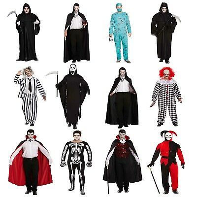 Halloween Fancy Dress Up Costume Outfit Skeleton Ghost Clown Etc NEW Adult Male](Halloween Clown Outfit)