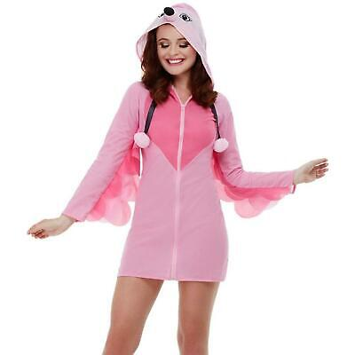 Women's Hooded Flamingo Pink Festival Carnival Fancy Dress Animal Party Costume
