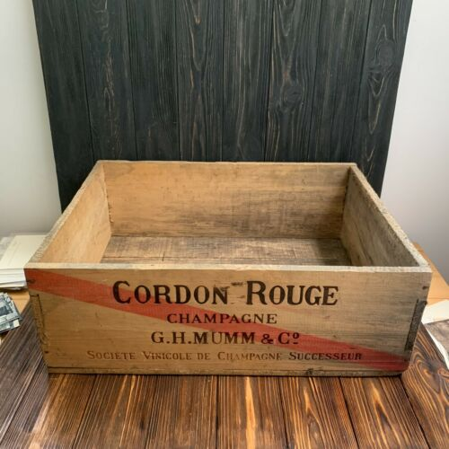 Vintage crate Cordon Rouge Champagne G. H, Mumm & Co Reims wood holder wine