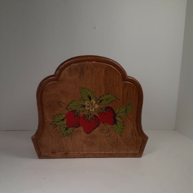 Vintage wood napkin holder with strawberries