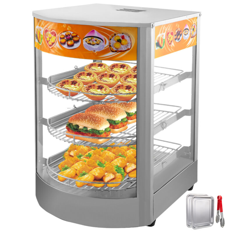 """Commercial Food Warmer Court Heat Food pizza Display Warmer Cabinet 26"""" Glass"""