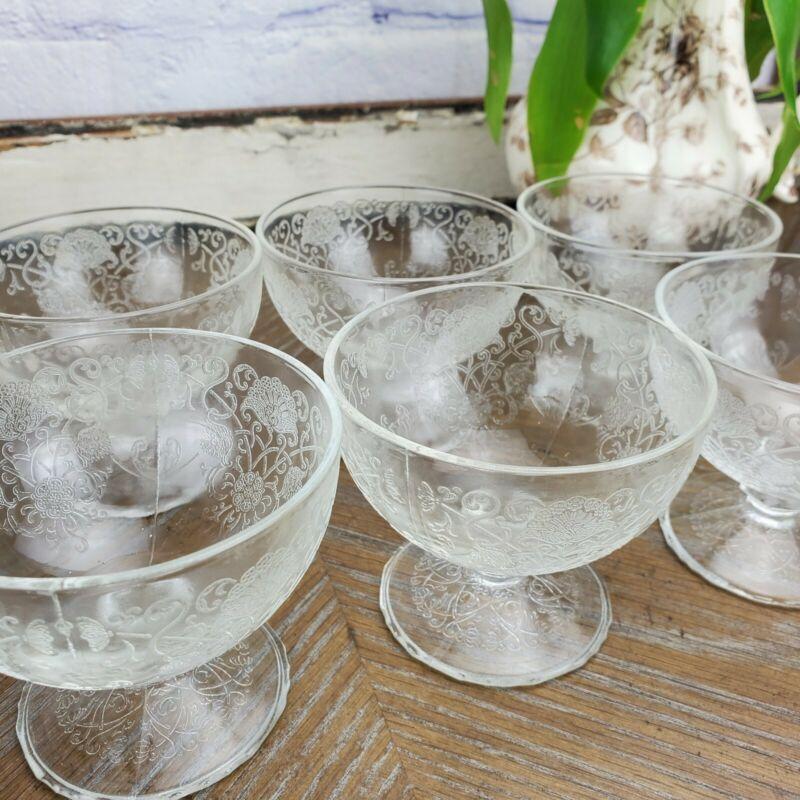 (6) Hazel Atlas Florentine Dessert Sherbet Depression Etched Glass Clear