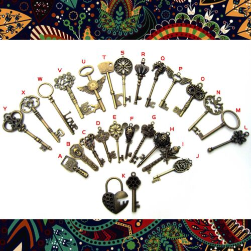 Heavy Duty Large Antique Vtg Old Look Skeleton Key Pendant Bow Charms Jewelry
