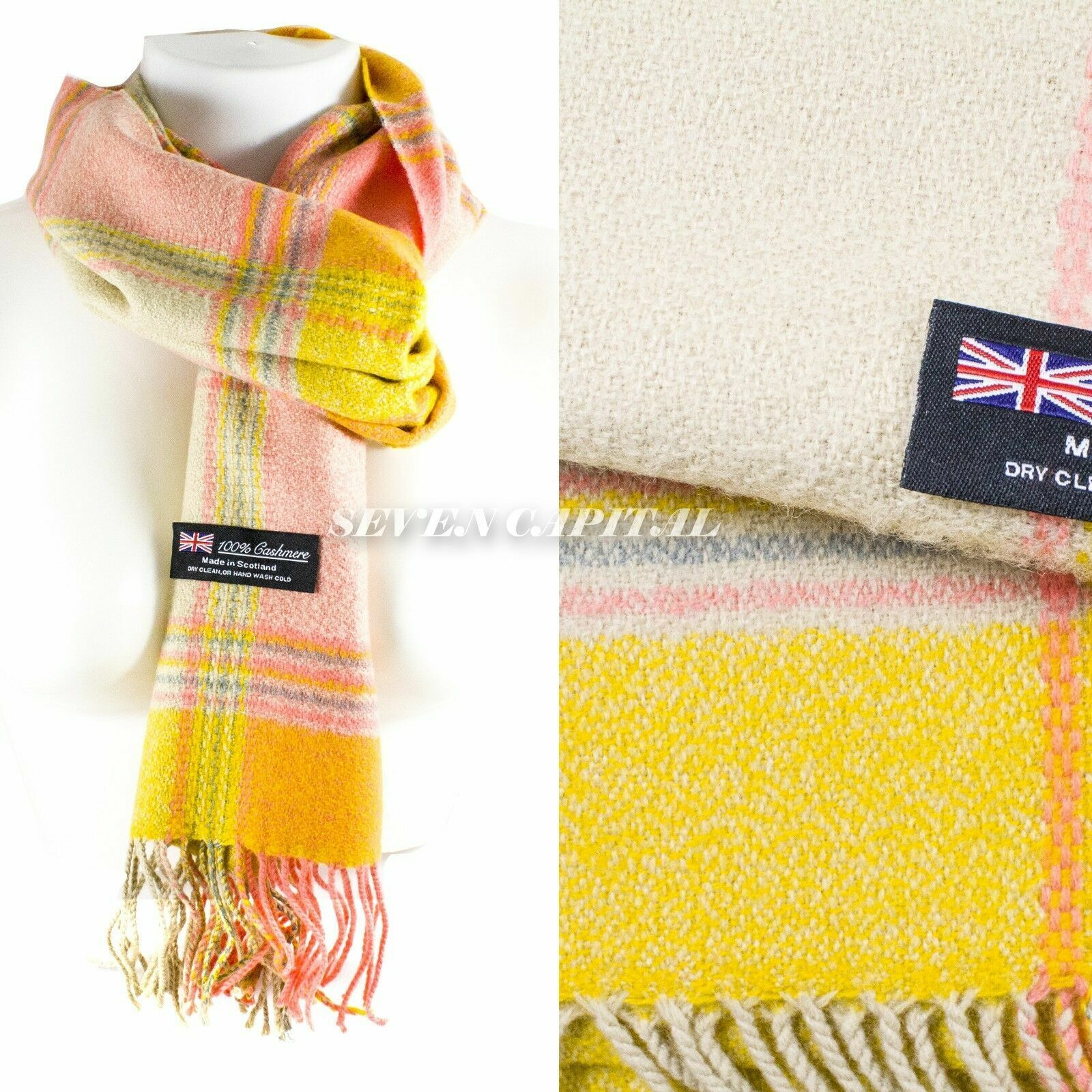 Mens Womens Winter Warm SCOTLAND Made 100% CASHMERE Scarf Scarves Plaid Wool 55. Multiple: Pink/Yellow
