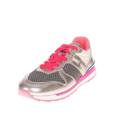 RRP €245 HOGAN REBEL Sneakers EU 36.5 UK 4 US 6.5 Contrast Leather Metallic