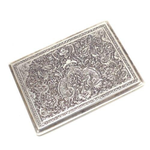 Vintage 1954 Hallmarked .875 Silver Etched Cigarette Case Engraved 154.5g