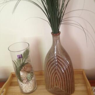 Glass Container with Shells etc & Vase and Artificial Plant
