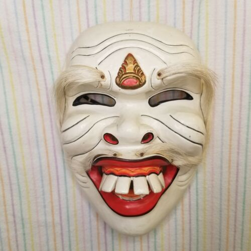 Hand Carved Balinese Wayang Topeng Mask Red White Demon Face Indonesian Wooden